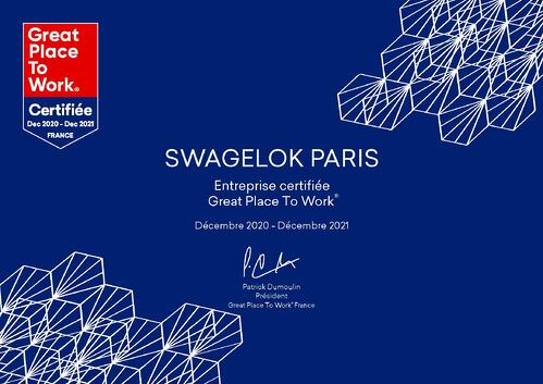 Swagelok Paris certification Great Place To work